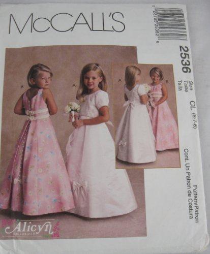 McCalls 2536 Flower Girl Formal Gown Dress Pattern 6 7 8