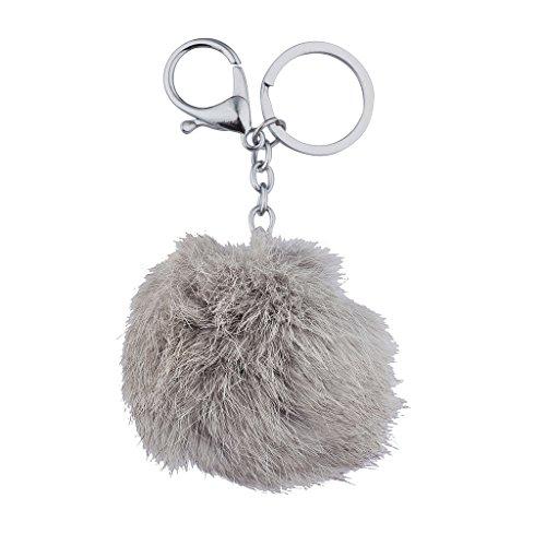 Lux accessori, colore: grigio con Pom Pom-Portachiavi a ciondolo