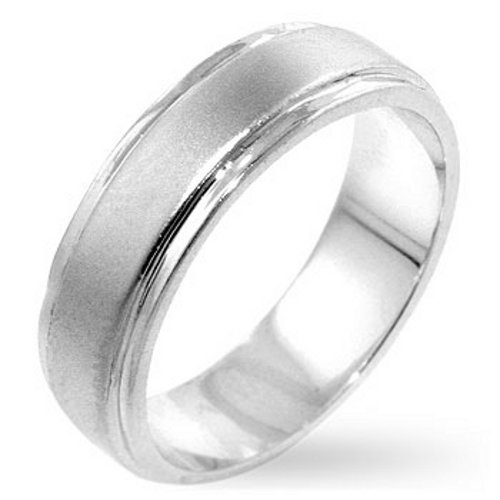 White Gold Bonded Men's Classic Eternity Wedding Band Ring (10)