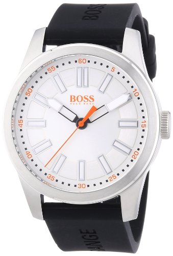 Boss Orange Big Up 1512937 Mens Quartz Analog Watch, Black Silicone Strap