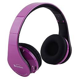 Beyution HiFi Stereo Bluetooth Headphones with Built in Microphone - Retail Packaging (Deep Purple)