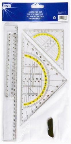 TSI Zeichengarnitur 4tlg. Geo Dreieck 16cm & 25cm Lineal 17cm & 30cm