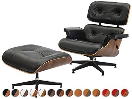 MLF Eames Reproduction intégrale Fauteuil de salon avec repose-pieds en cuir de qualité supérieure - Black Aniline Leather+Walnut Laminated Veneer