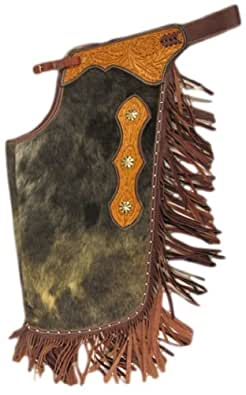 Bar H Equine Chaps Western Chinks Leather Hair On Hide L Brown CH183