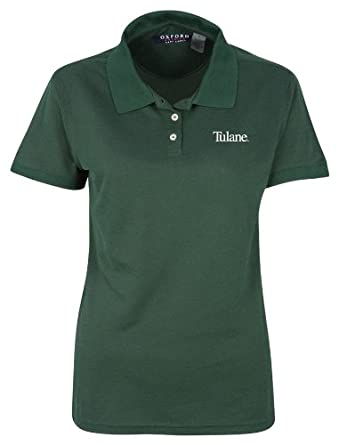 NCAA Tulane Green Wave Ladies 3 Button Polo Shirt with Banded Sleeves by Oxford