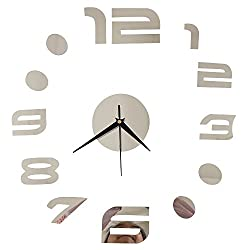 Happy Hours - Stylish 3D Frameless Wall Clock / Creative DIY Digital Mirror Home Decor Watch / Wall Sticker Design Bell for Cafe Bedroom Living Room Dormitory(Sliver)