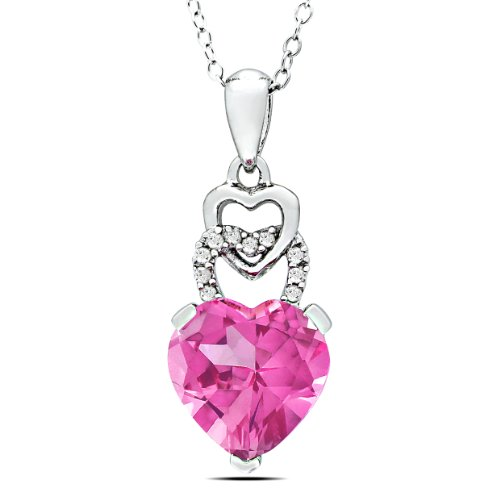 Sterling Silver 4 1/5 CT TGW Created Pink Sapphire 0.05 CT TDW Diamond Heart Pendant (G-H, I2-I3)