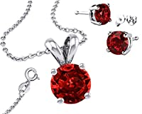 Birthstone 925 Sterling Silver Necklace Combo, Earrings, Pendantt and 18 Inch Rolo Chain CZ Red Ruby by Made in U.S.A