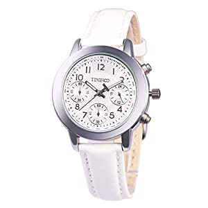 TIME100 Ladies' Fashion Multicolor Multifunction White Genuine Leather Waterproof Quartz Watch #W70073L.01A