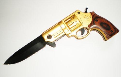 .44 Mag GOLD Revolver Black Blade Wood Handle ASSISTED OPENING GUN POCKET KNIFE