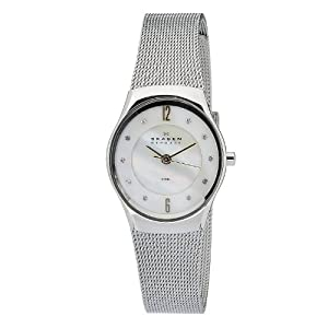 Skagen Women's O693XSGSW Quartz Nother Of Pearl Dial Stainless Steel Watch