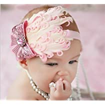 Lovely Ovely Unusal Cotton Girls Baby Pink Feather Hairband Light Pink Bow Headband