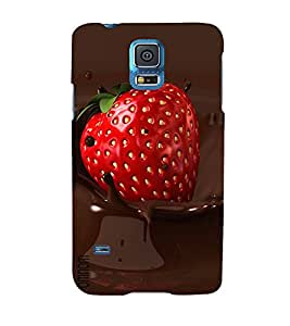 Omnam Cherry Lying In Choclate Printed Desinger Back Cover Case For Samsung Galaxy S5