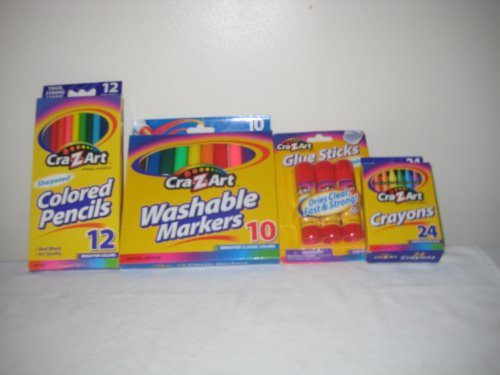 Comb Packet Cra-Z-Art 3 pc Glue Stick, 24 pc Crayons, Washable 10 pc Markers, 12pc Color Pencils