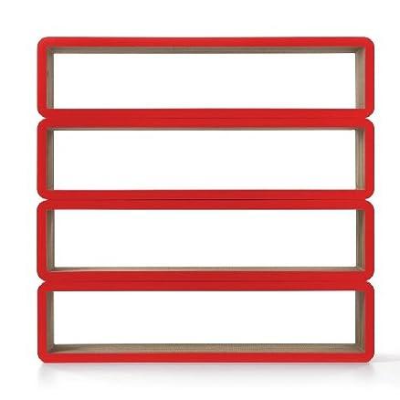 Bioecoshop Libreria Modulare In Cartone Tridimensionale Con Finitura In Rigido Materiale Antiurto Idrorepellente Colore Rosso Bioeco Kub Dam B Mis 195 x 28 Cm H 47 Cm