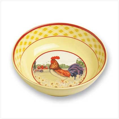 Country Rooster Tabletop Kitchen Large Serving Bowl