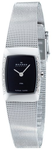 Skagen Ladies Watch 684XSSBPL with Silver Stainless Steel Bracelet and Black Dial