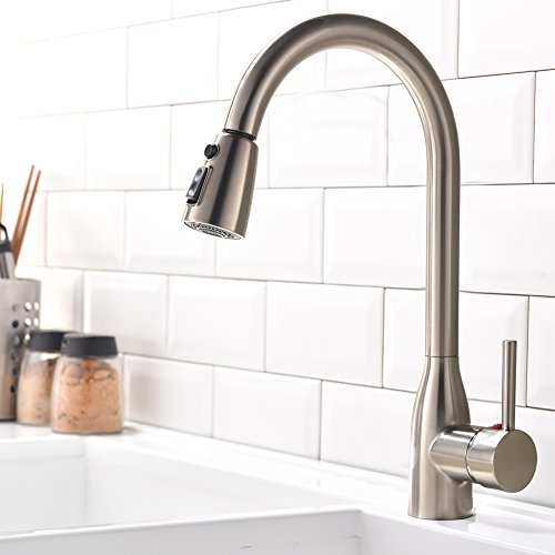 Hotis Modern Commercial Pull Out 1 Hole Stainless Steel Pull Down Prep Sprayer Single Handle Touch Kitchen Faucet, Brushed Nickel Kitchen Sink Faucet (1 Handle Kitchen Faucet compare prices)