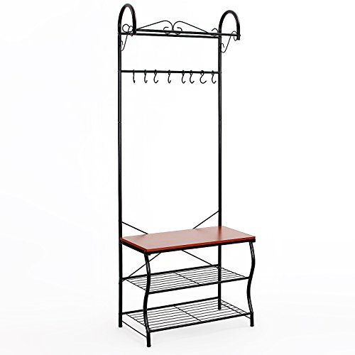 Songmics Metal Entryway Shoe Bench With Coat Rack Hallway