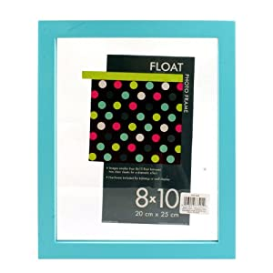 """Burnes Float Tabletop / Wall Hanging Photo Frame 8"""" x 10"""" - A Floating Effect Picture Frame: Turquoise"""