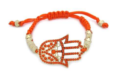 Orange Adjustable Golden Hamsa/Hand of Fatima Knot Bracelet
