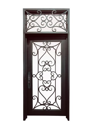 WI-32B Pre-hung wrought iron security entry doors with multi locking system