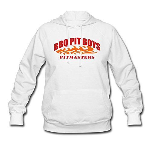 Spreadshirt Women'S BBQ Pit Boys Piitmasters Hoodie, White, S