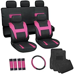 OxGord 21pc Black & Pink Flat Cloth Seat Cover and Carpet Floor Mat Set for the Honda Accord Coupe, Airbag Compatible, Split Bench, Steering Wheel Cover Included