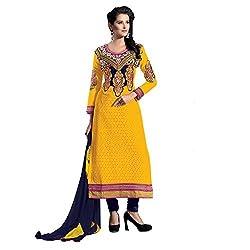 Meghali Women's Cotton Silk Zari Unstitched Suit (Tonika05_Yellow_Free Size )