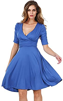 Meaneor Women 3/4 Sleeve Ruched Waist Classy V-Neck Casual Cocktail Party Dress