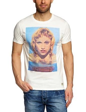 JACK & JONES Herren T-Shirt Slim Fit 12064478 MUSIC TEE S/S ORG, Gr. 52 (L), Weiß (CLOUD DANCER / MADONNA)