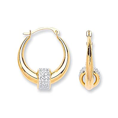 9K Yellow Gold 18mm Hoop With Cubic Zirconia Ball Earrings - British Made - Hallmarked