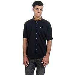 Sting Black Solid Slim Fit Full Sleeve Cotton Casual Shirt (SG0011B271FM)