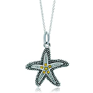 Pugster Silver Topaz Yellow Crystal Starfish Link Charm Charms Bracelet & Pendant Necklace