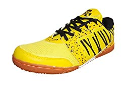 Port Mens Z-501 Yellow PU Badminton Shoes for men (Size 6 ind/uk)