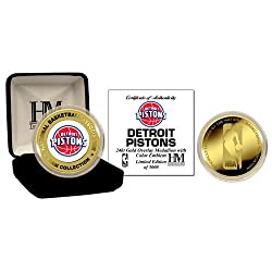 Detroit Pistons 24Kt Gold And Color Team Coin