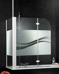 Schulte D3381 Badewannenfaltwand Badewannenaufsatz Duschwand mit Seitenwand 2-tlg. 1145x1400 mm, für Wannenbreite 730-750 mm, Dekor Liane, Profilfarbe alpinweiß
