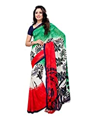 Indian Wear Green & Red Heavy Dani Georgette Printed Saree