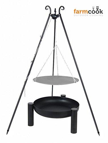 Dreibein mit Lagerfeuerpfanne 56 cm und Feuerschale Pan 38 60 cm jetzt kaufen