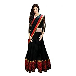 S4S Georgette Designer Semi-stitched Lehenga Choli Material (Red & Black)