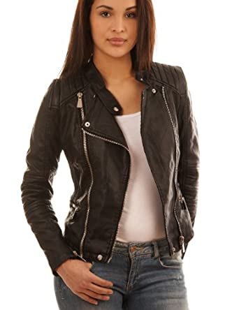 balingi veste biker en simili cuir pour femme ba10424. Black Bedroom Furniture Sets. Home Design Ideas