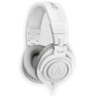 Audio Technica ATH-M50WH Professional Studio Monitor Headphones with Coiled Cable (White)