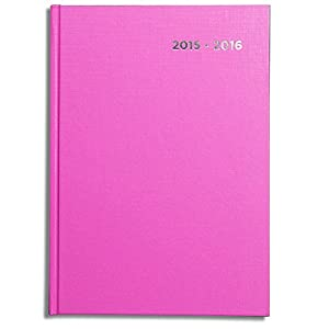 Pirongs A416 A4 2015-2016 Pink Page-a-day Academic Diary - available in ten different colours