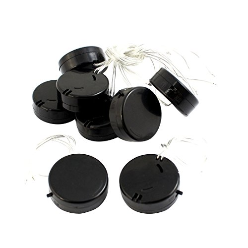 8Pcs Black Wire Lead 2x3V CR2032 Coin Cell Button Battery Holder Case