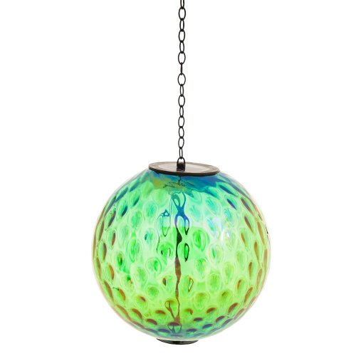 Irridescent green solar hanging gazing ball home garden for Hanging garden ornaments