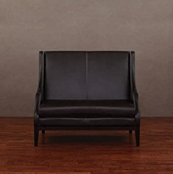 Lummi Dark Brown Leather High-back Loveseat Contemporary Settee Couch