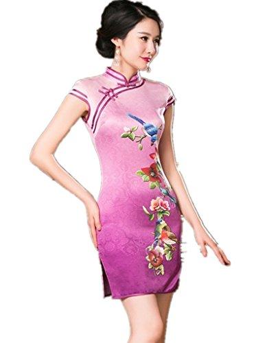 (上海物語)Shanghai Story シルク チャイナドレス ショット 中国 ドレス 女性 中華着物 S