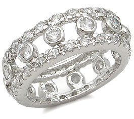 Sterling Silver Bands - Bezel Setting CZ Eternity Band