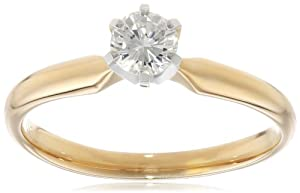 14k White Gold Round Diamond Solitaire Engagement Ring (1/4 cttw, H-I Color, SI2-I1 Clarity), Size 8