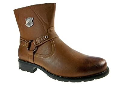 Polar Fox Men's 580-Brown Calf High Biker Riding Style Boots, Brown, 9.5